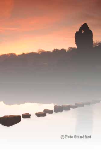 Ogmore castle on a misty morning, Ogmore, south Wales