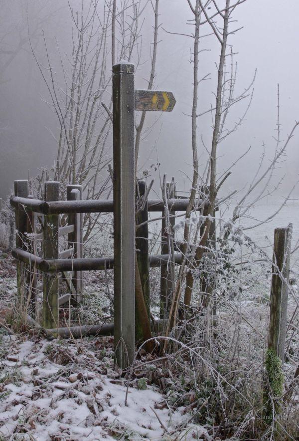 Frosty signpost