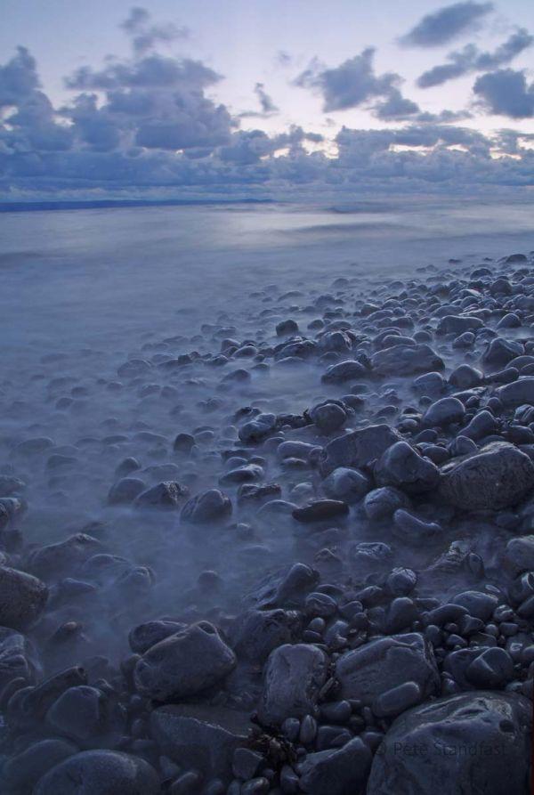 Seashore at dusk, Llantwit Major