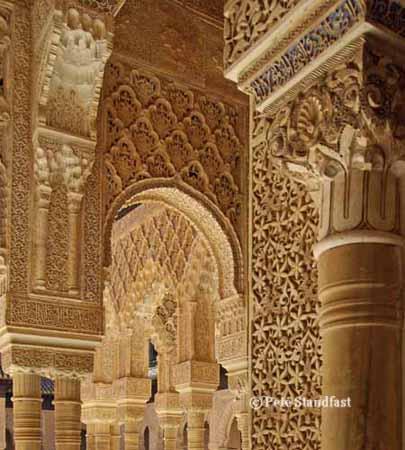 Moorish arches, Nasrid Palace, the Alhambra, Granada, Spain