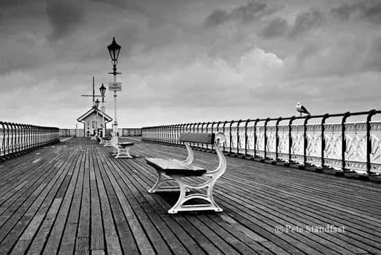Penarth Pier on a dull day in mono