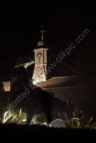 Priest and buffalo statue, Dyffryn Gardens, near Cardiff