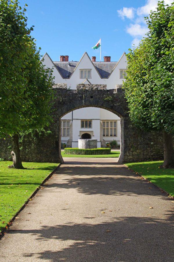 St. Fagans Castle through an archway