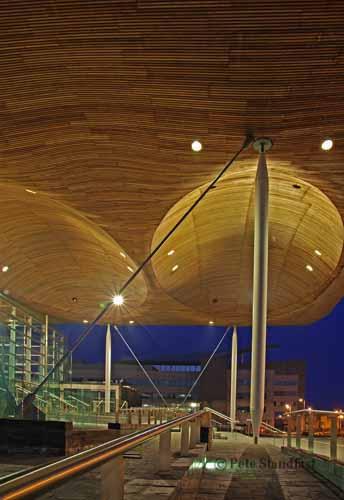 Under the Senedd canopy, Cardiff Bay