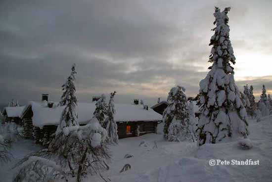 Warm cabin in the snow, Iso Syote, Finland