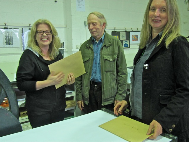 Receiving the Curwen Print certificate