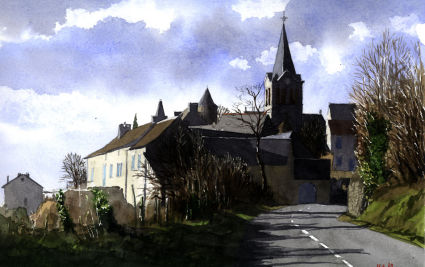 Hot sunny day at Lunac, SW France. Watercolour