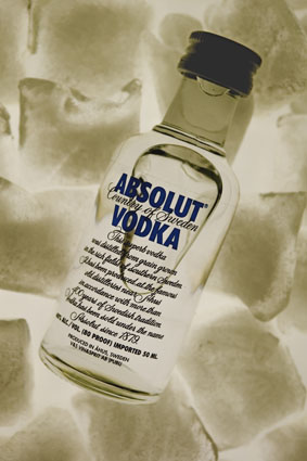 Absolut Vodka on ice
