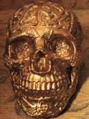 Human Replica skull, Celtic, gold mirror paint.