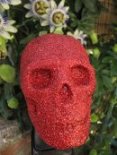 Human replica skull, red glitter,  PJCreationCraft, Etsy.