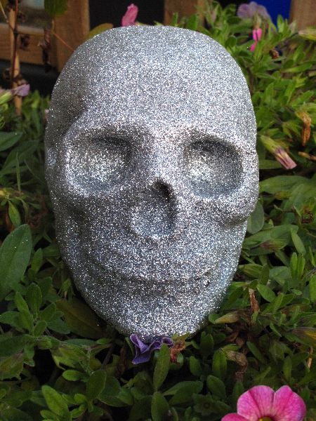 Human Replica skull, silver glitter, Etsy PJCreationCraft.