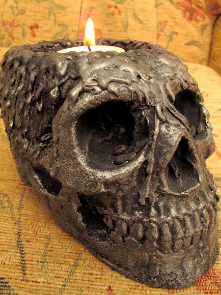 Human replica skull, candle holder , PJCreationCraft, Etsy.