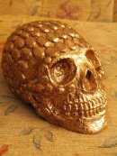 Human Replica skull, diamond design, gold mirror spray, Etsy PJCreationCraft.