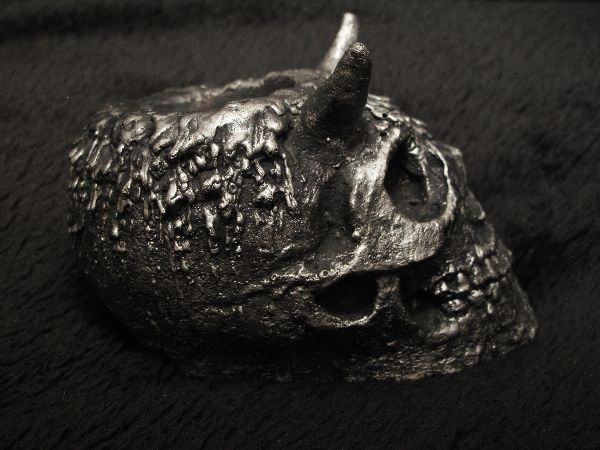 Human horned skull, tea candle, Etsy PJCreationCraft