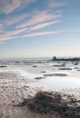 Low tide and Reculver Towers Kent