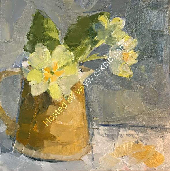 "#30days20 challenge Primroses Oil on board 6"" x 6"" SOLD"