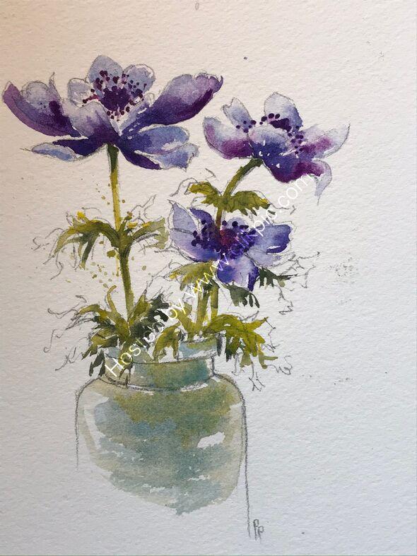Anemones Watercolour on paper