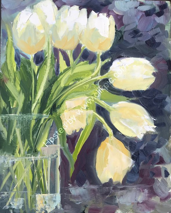 """#30days20 challenge Tulips. Oil on board 8x10"""" SOLD"""