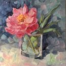 "#30days20 Em's peony 8x8"" oil on board"