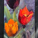 "#30days20 challenge Venetian tulips Oil on board 8 x 4""SOLD"