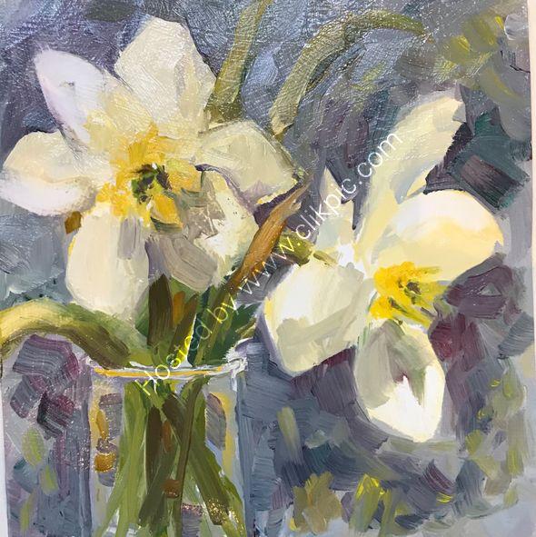 "Daffodils Oil on board 6x6"""