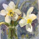 Daffodils Oil on board 6x6""