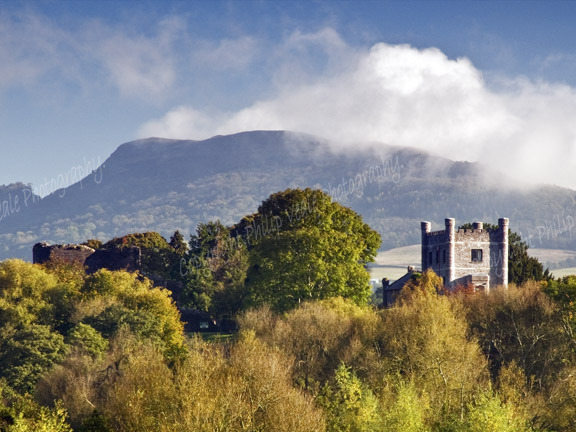 Abergavenny Castle and Skirrid.
