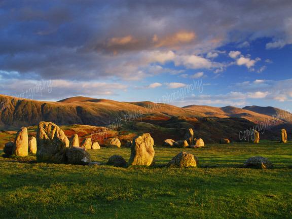 Castlerigg Stone Circle at dusk.