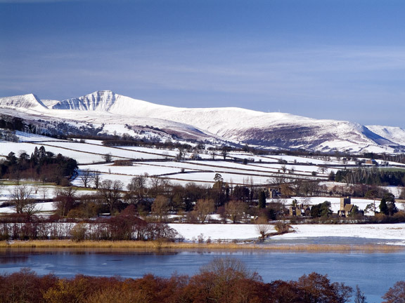 Llangorse Lake and Brecon Beacons in Winter.