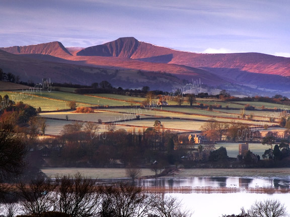 Dawn, Llangorse Lake and the Brecon Beacons.