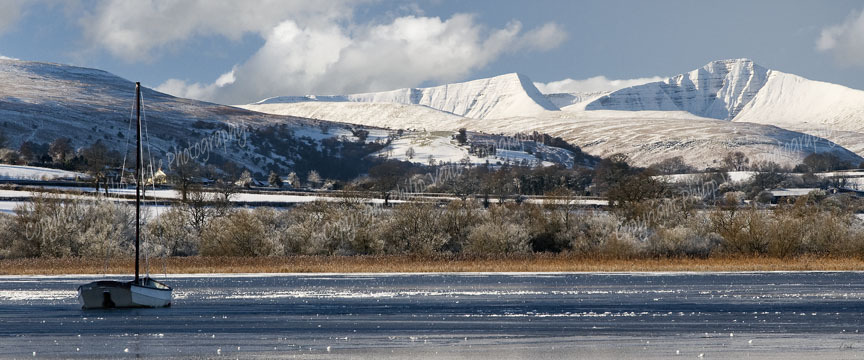 A frozen Llangorse Lake & Brecon Beacons. Limited Edition of 100.