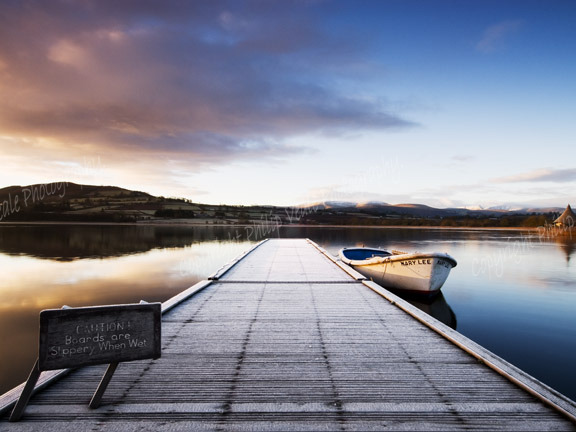 The Mary Lee at Dawn.Llangorse Lake.