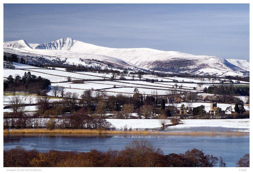 Llangasty Church and the Beacons.