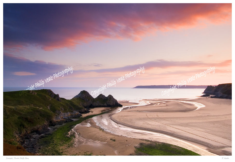 Sunset, Three Cliffs Bay.