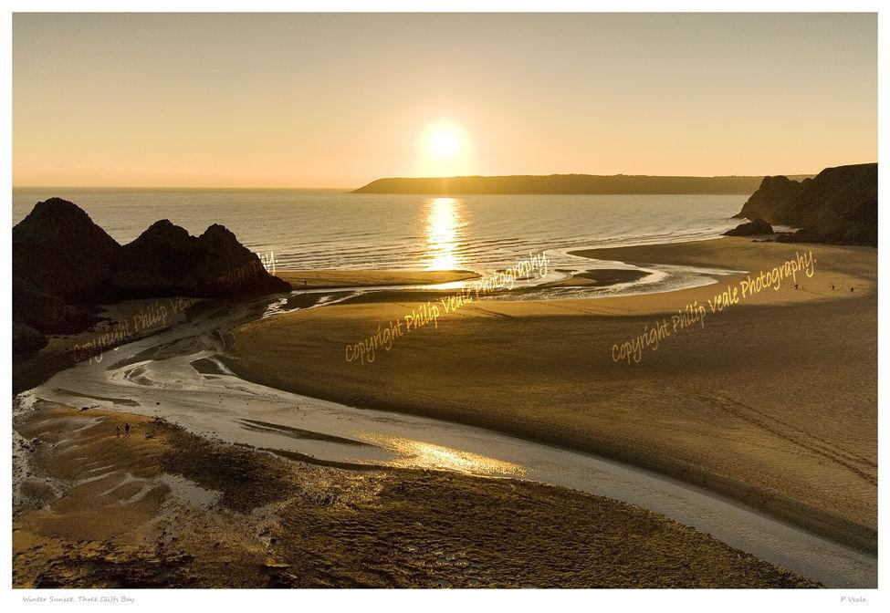 Winter Sunset, Three Cliffs Bay.