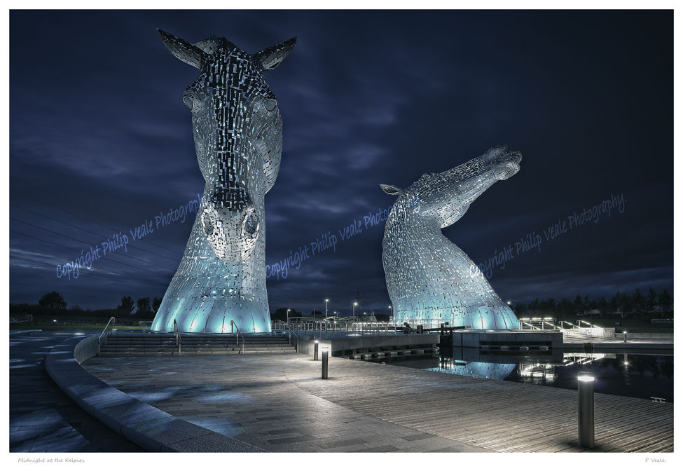 Midnight at the Kelpies.