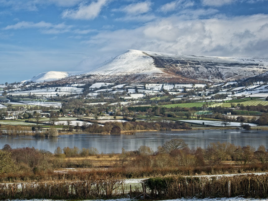 Llangorse Lake and Mynydd Troed in Winter.