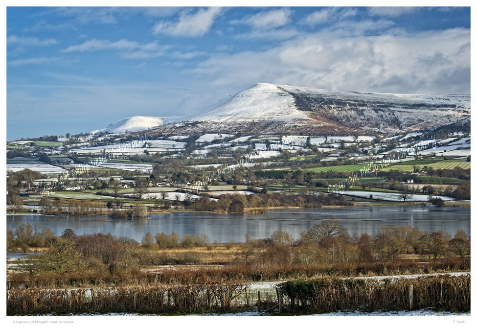 Llangorse Lake and Mynydd Troed in Winter.