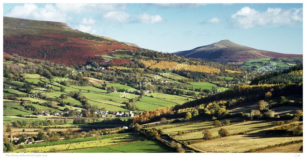 Sugarloaf and Pen Cerrig Calch in Autumn.