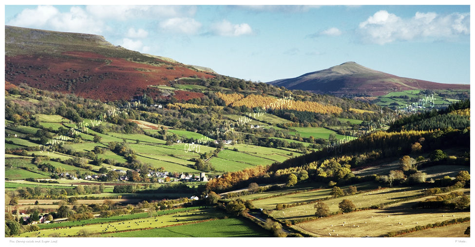 Pen Cerrig Calch and Sugarloaf.