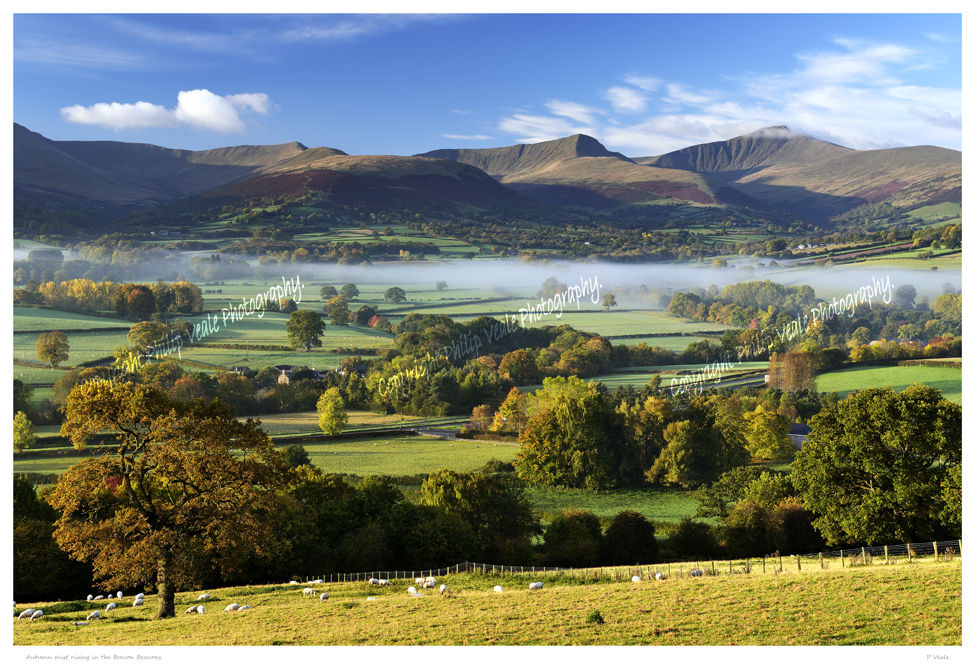 Autumn mist rising in the Brecon Beacons.