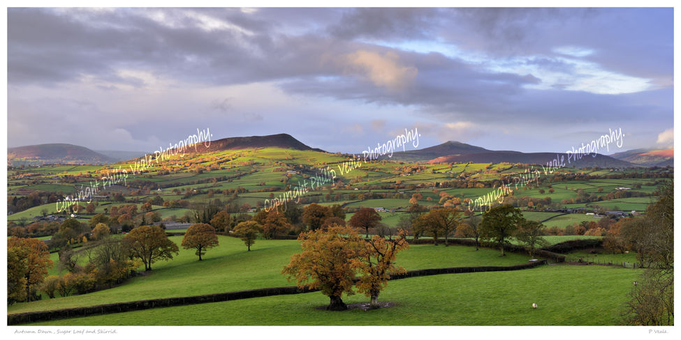 Sugar Loaf and Skirrid in the early light of an autumn dawn.
