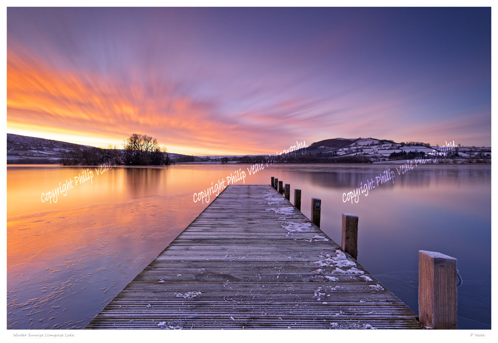 Winter Sunrise at Llangorse Lake.