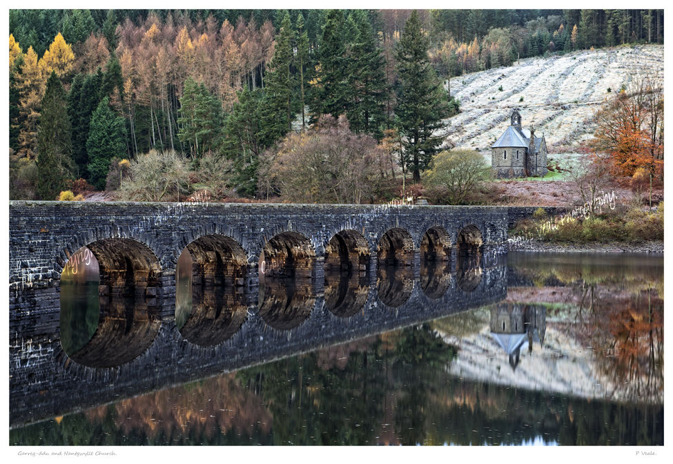 Garreg Ddu and Nantgwyllt Church, Elan Valley.
