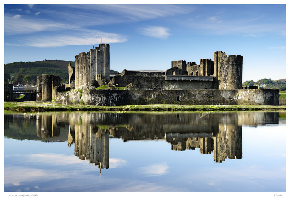 Calm at Caerphilly Castle.