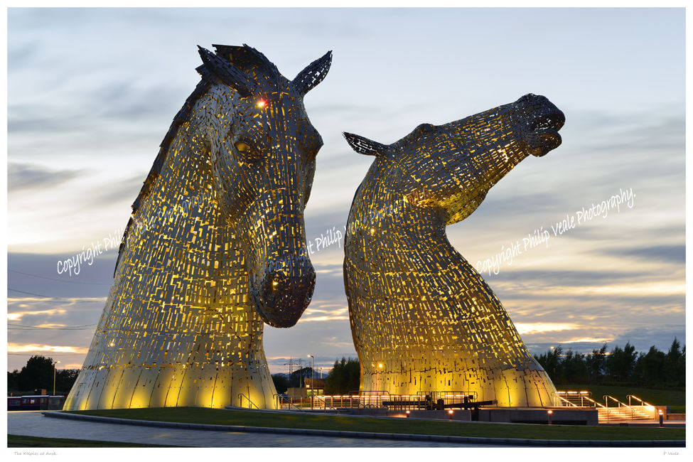 The Kelpies at dusk.
