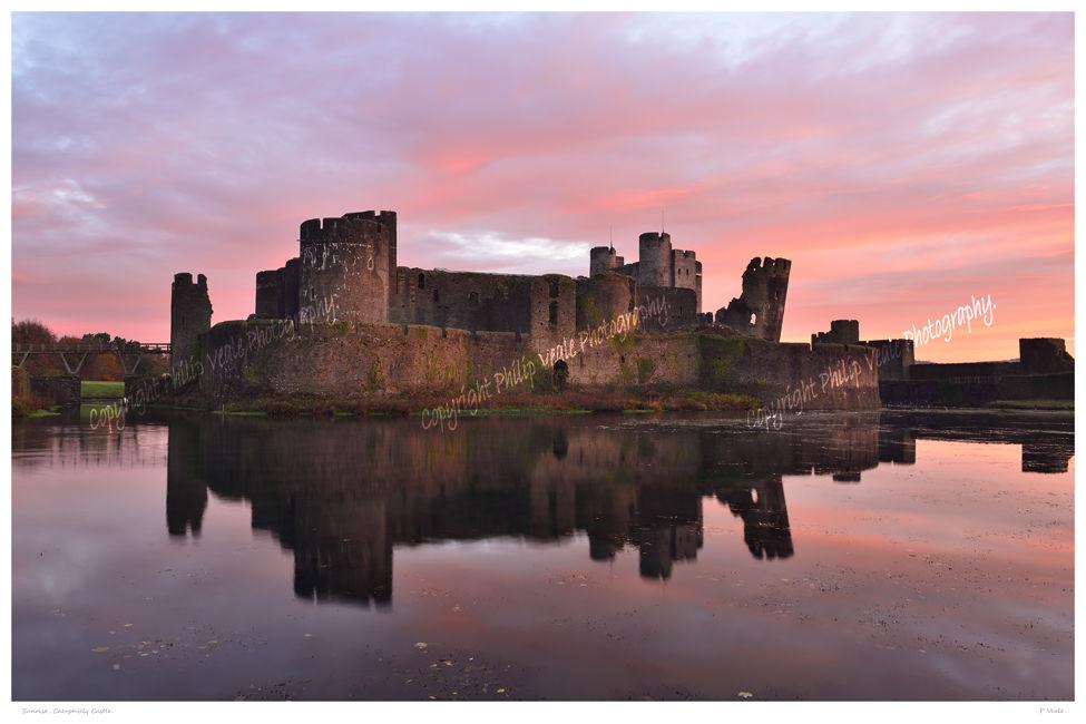 Sunrise, Caerphilly Castle.