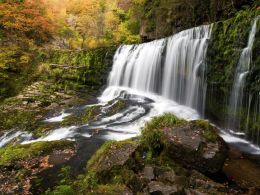 Sgwd Isaf Clun-gwyn in Autumn.
