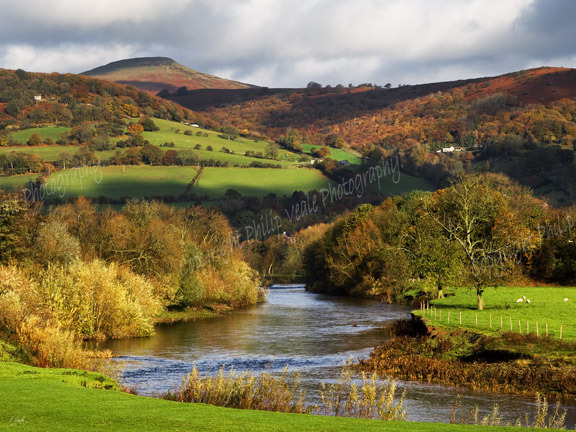 Autumn, River Usk and Sugar Loaf.