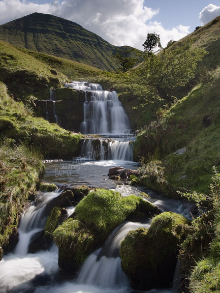 Waterfalls and Cribyn in late summer. The Brecon Beacons.